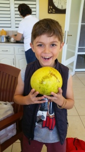 David, my mother's youngest, holding the whopping grapefruit he found.
